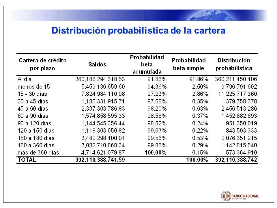 Distribución probabilística de la cartera