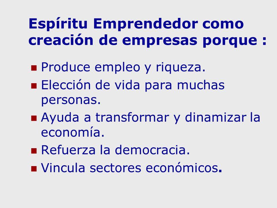 Espíritu Emprendedor como creación de empresas porque :
