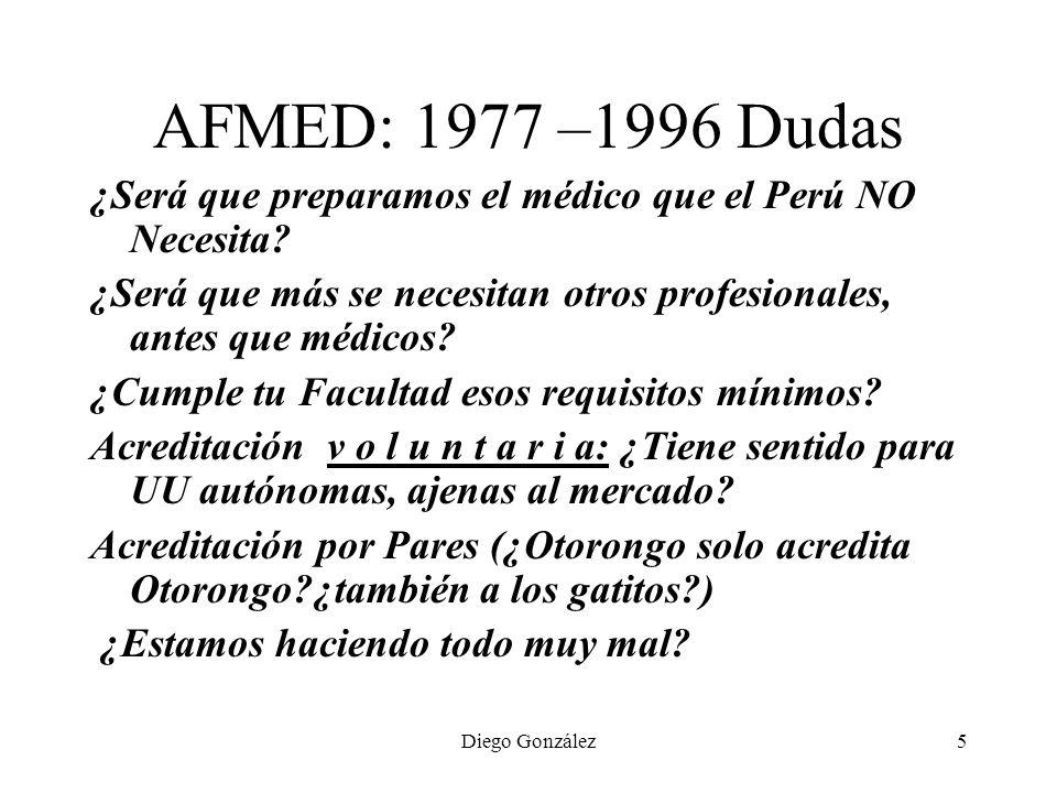 AFMED: 1977 –1996 Dudas ¿Será que preparamos el médico que el Perú NO Necesita ¿Será que más se necesitan otros profesionales, antes que médicos