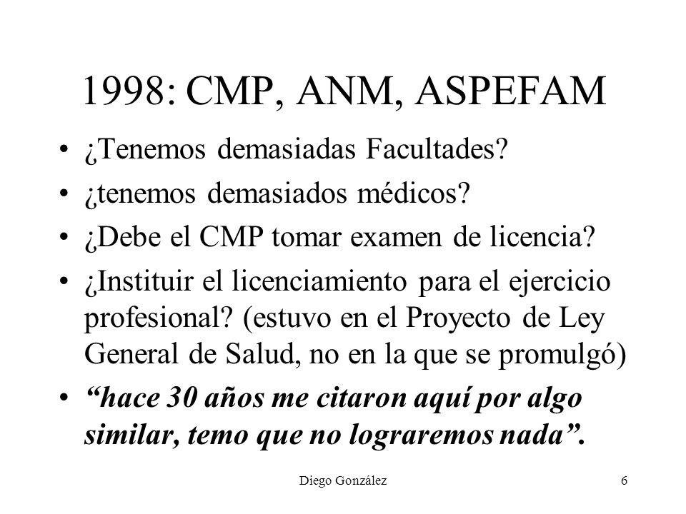 1998: CMP, ANM, ASPEFAM ¿Tenemos demasiadas Facultades