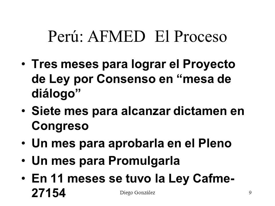Perú: AFMED El Proceso Tres meses para lograr el Proyecto de Ley por Consenso en mesa de diálogo