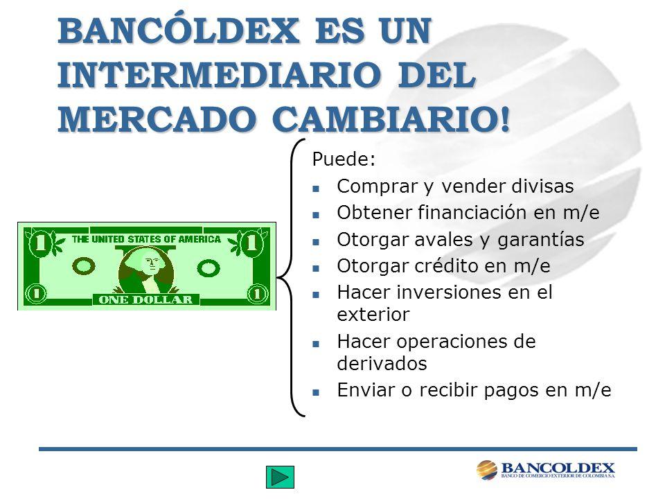 BANCÓLDEX ES UN INTERMEDIARIO DEL MERCADO CAMBIARIO!