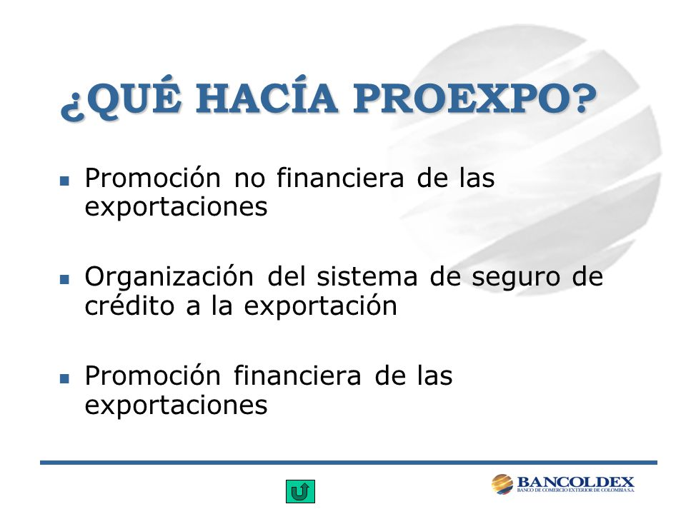 ¿QUÉ HACÍA PROEXPO Promoción no financiera de las exportaciones