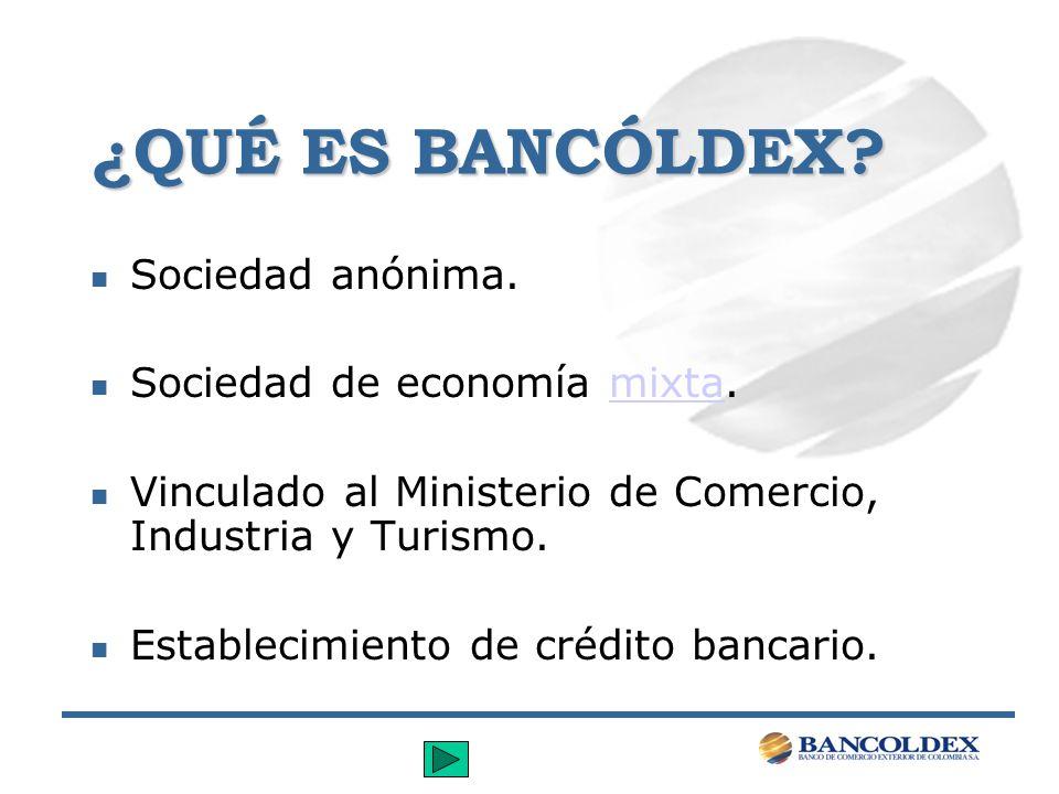 ¿QUÉ ES BANCÓLDEX Sociedad anónima. Sociedad de economía mixta.