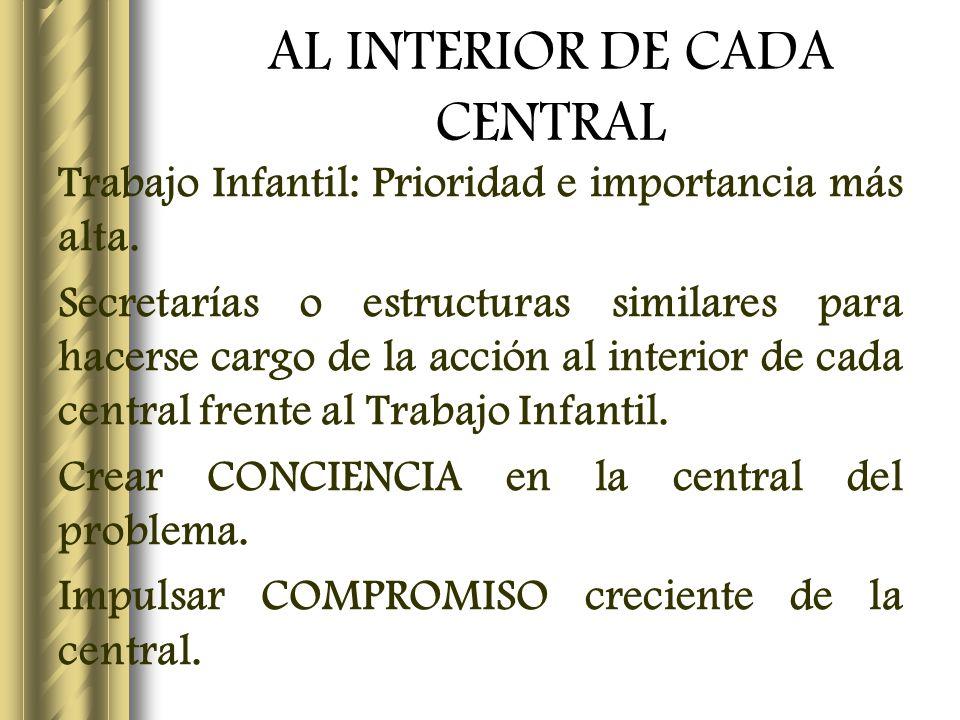AL INTERIOR DE CADA CENTRAL