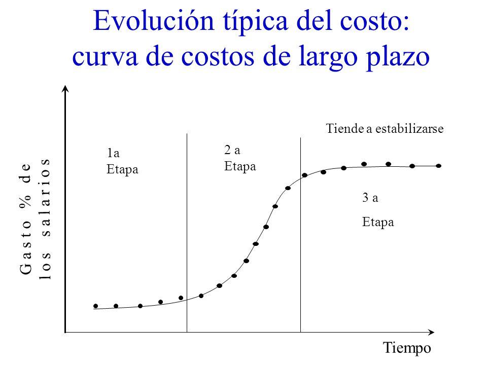 Evolución típica del costo: curva de costos de largo plazo