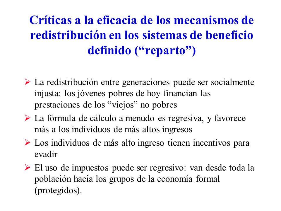 Críticas a la eficacia de los mecanismos de redistribución en los sistemas de beneficio definido ( reparto )