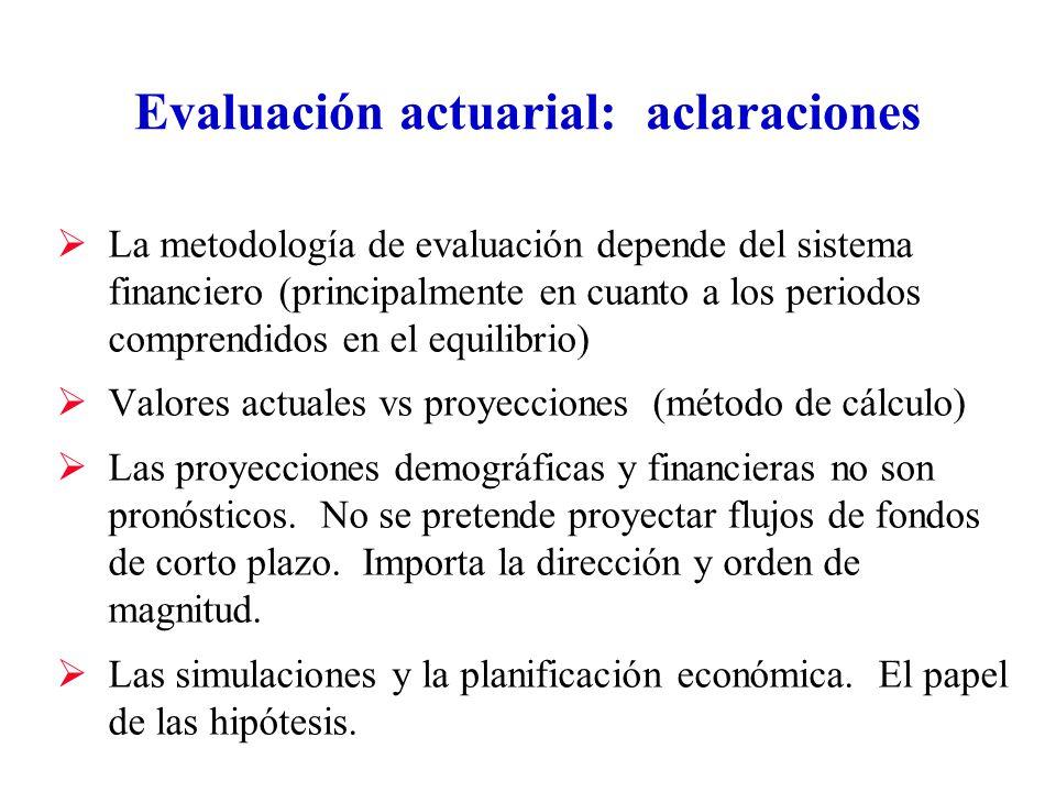 Evaluación actuarial: aclaraciones