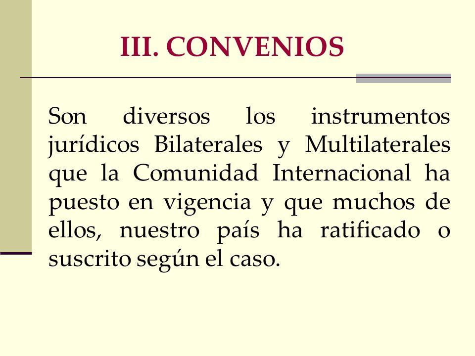 III. CONVENIOS