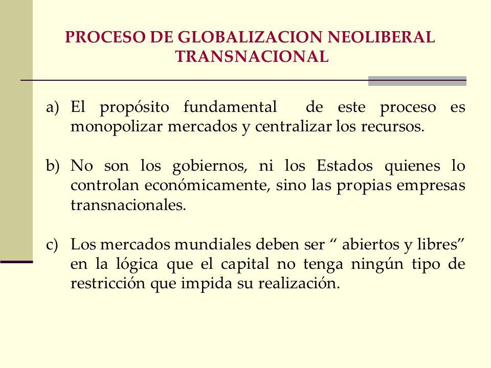 PROCESO DE GLOBALIZACION NEOLIBERAL