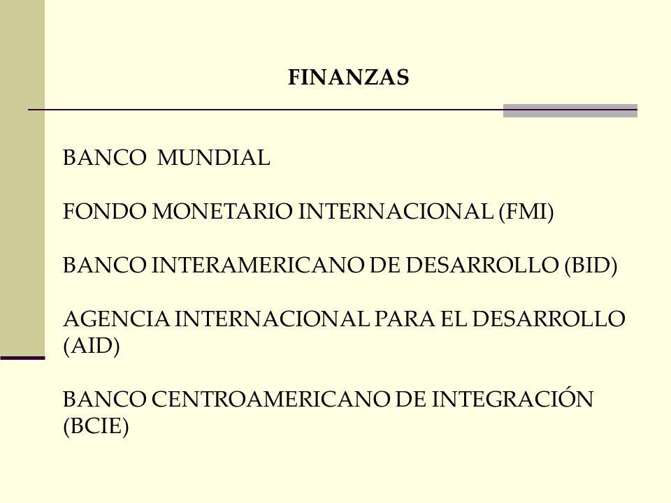 FINANZAS BANCO MUNDIAL. FONDO MONETARIO INTERNACIONAL (FMI) BANCO INTERAMERICANO DE DESARROLLO (BID)