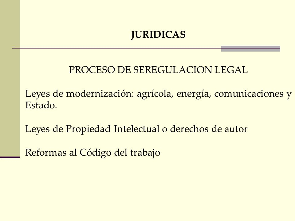PROCESO DE SEREGULACION LEGAL