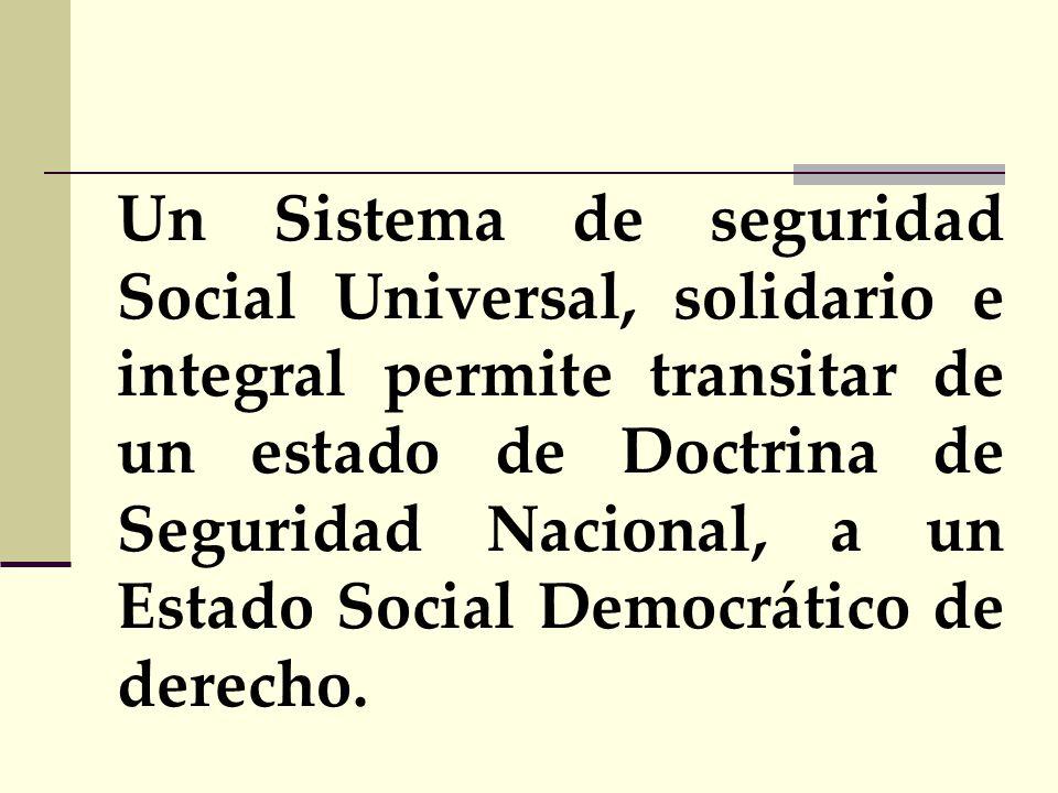 Un Sistema de seguridad Social Universal, solidario e integral permite transitar de un estado de Doctrina de Seguridad Nacional, a un Estado Social Democrático de derecho.