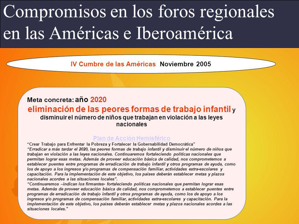 IV Cumbre de las Américas Noviembre 2005 Plan de Acción Hemisférico