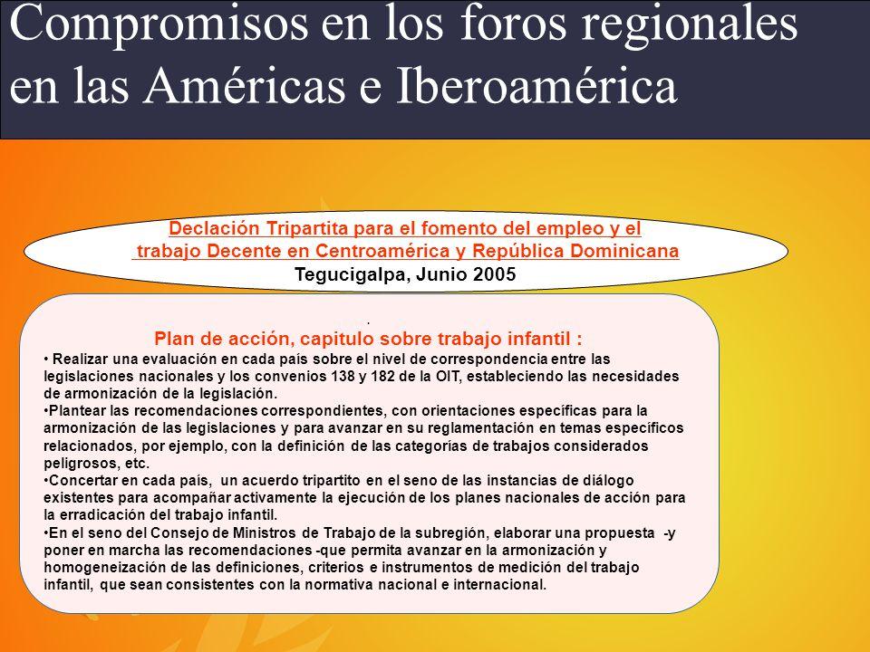 Compromisos en los foros regionales en las Américas e Iberoamérica