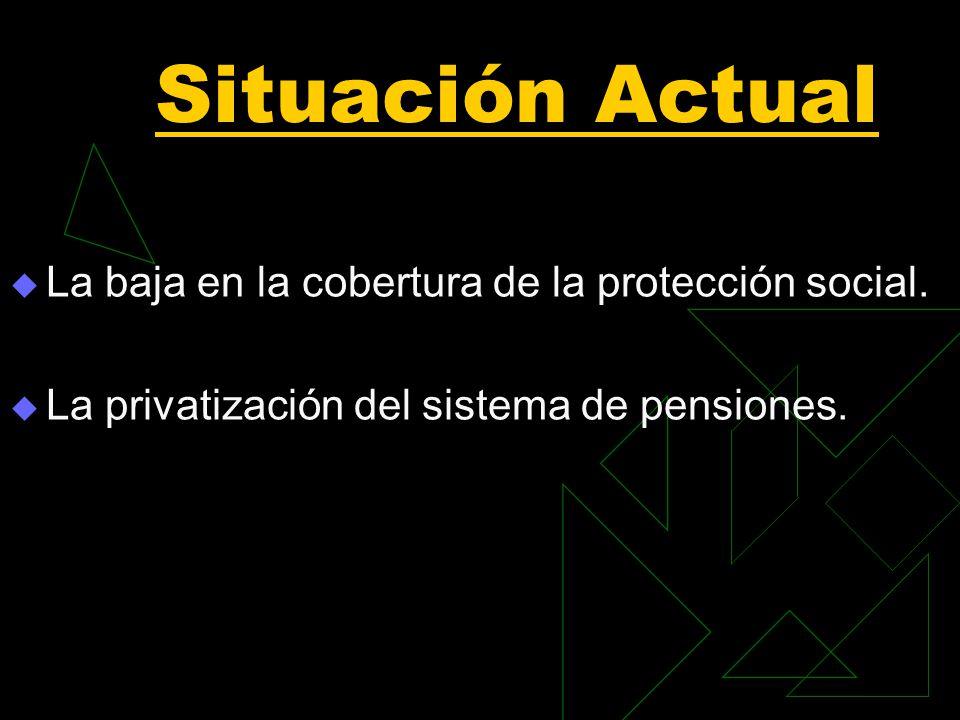 Situación Actual La baja en la cobertura de la protección social.