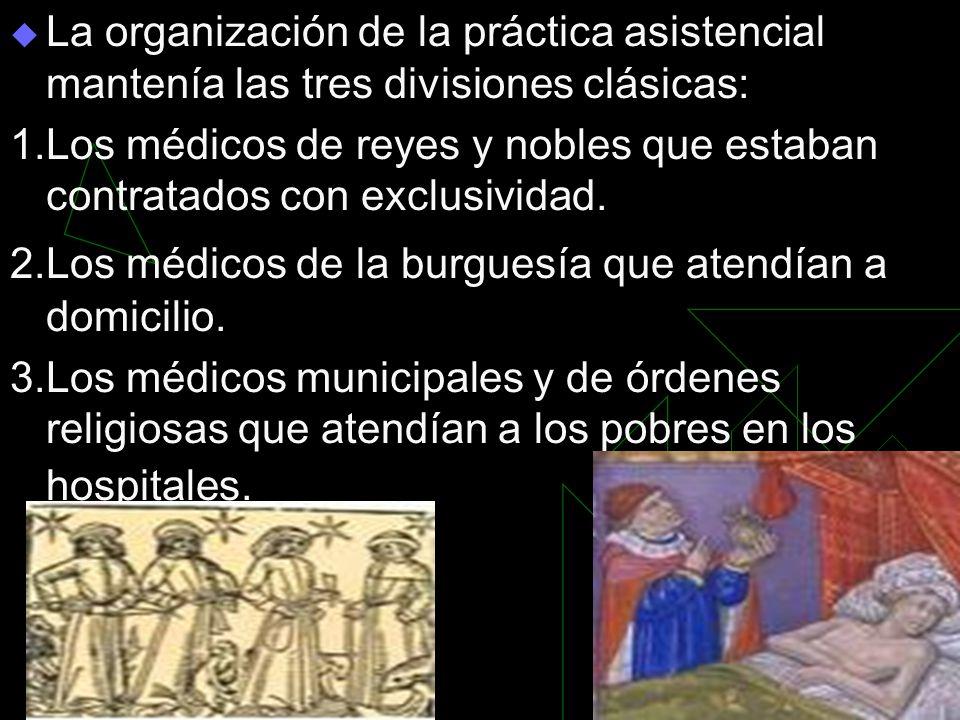 La organización de la práctica asistencial mantenía las tres divisiones clásicas: