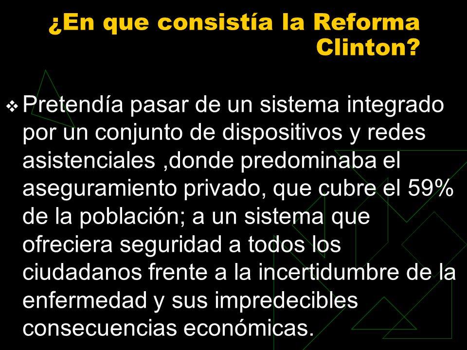 ¿En que consistía la Reforma Clinton