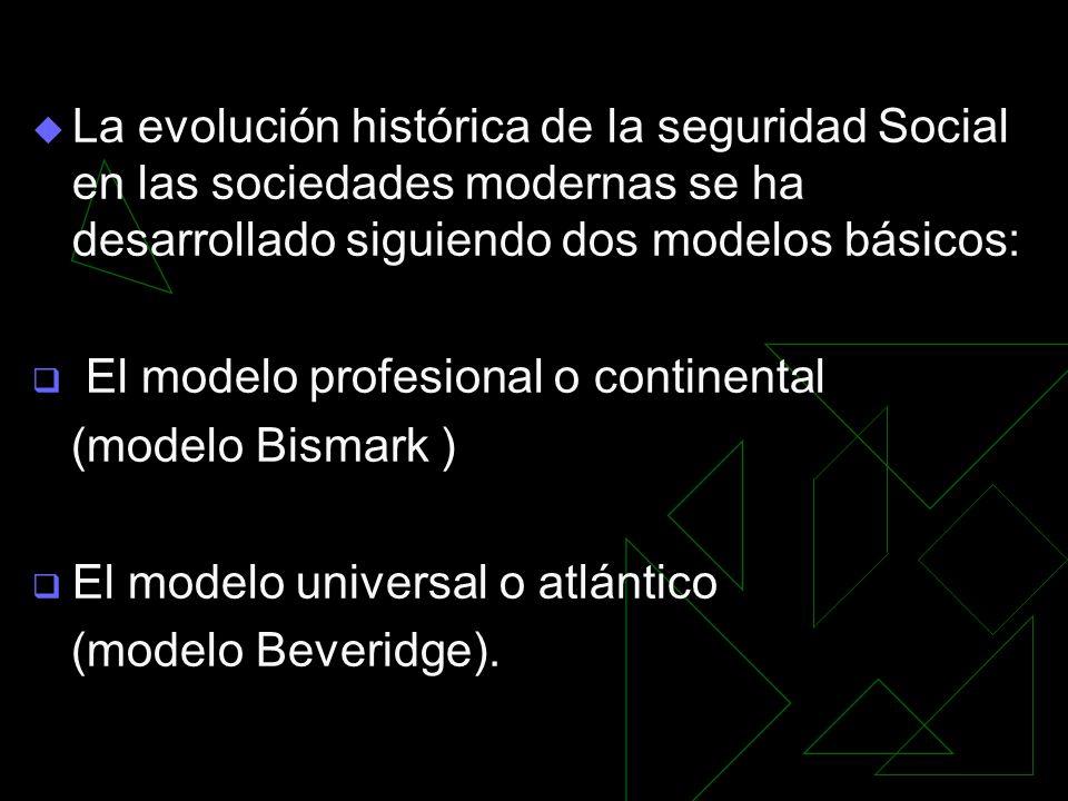 La evolución histórica de la seguridad Social en las sociedades modernas se ha desarrollado siguiendo dos modelos básicos: