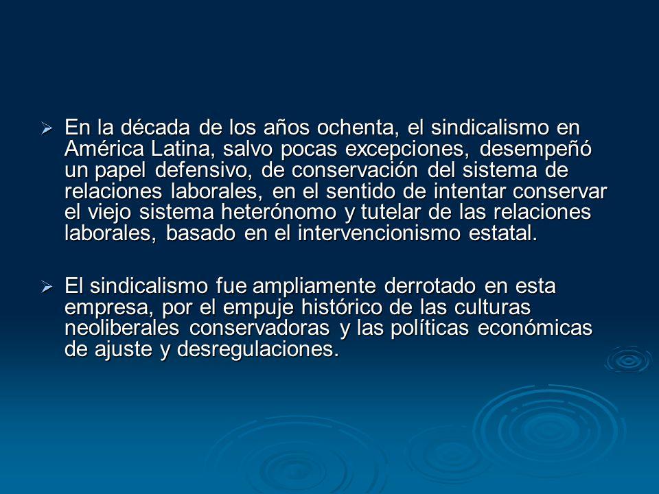 En la década de los años ochenta, el sindicalismo en América Latina, salvo pocas excepciones, desempeñó un papel defensivo, de conservación del sistema de relaciones laborales, en el sentido de intentar conservar el viejo sistema heterónomo y tutelar de las relaciones laborales, basado en el intervencionismo estatal.