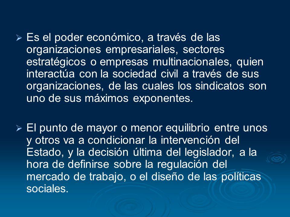 Es el poder económico, a través de las organizaciones empresariales, sectores estratégicos o empresas multinacionales, quien interactúa con la sociedad civil a través de sus organizaciones, de las cuales los sindicatos son uno de sus máximos exponentes.