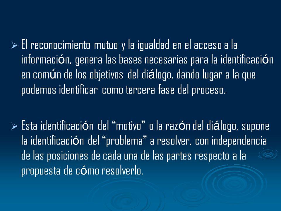 El reconocimiento mutuo y la igualdad en el acceso a la información, genera las bases necesarias para la identificación en común de los objetivos del diálogo, dando lugar a la que podemos identificar como tercera fase del proceso.