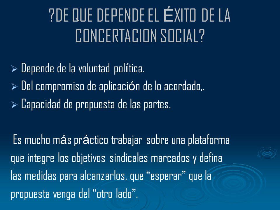 DE QUE DEPENDE EL ÉXITO DE LA CONCERTACION SOCIAL