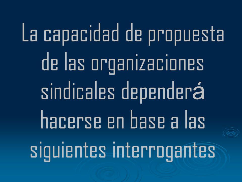La capacidad de propuesta de las organizaciones sindicales dependerá hacerse en base a las siguientes interrogantes