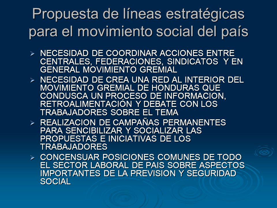Propuesta de líneas estratégicas para el movimiento social del país