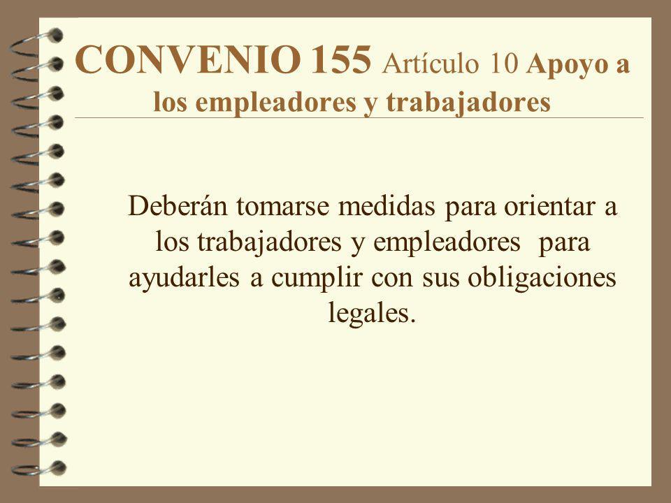 CONVENIO 155 Artículo 10 Apoyo a los empleadores y trabajadores