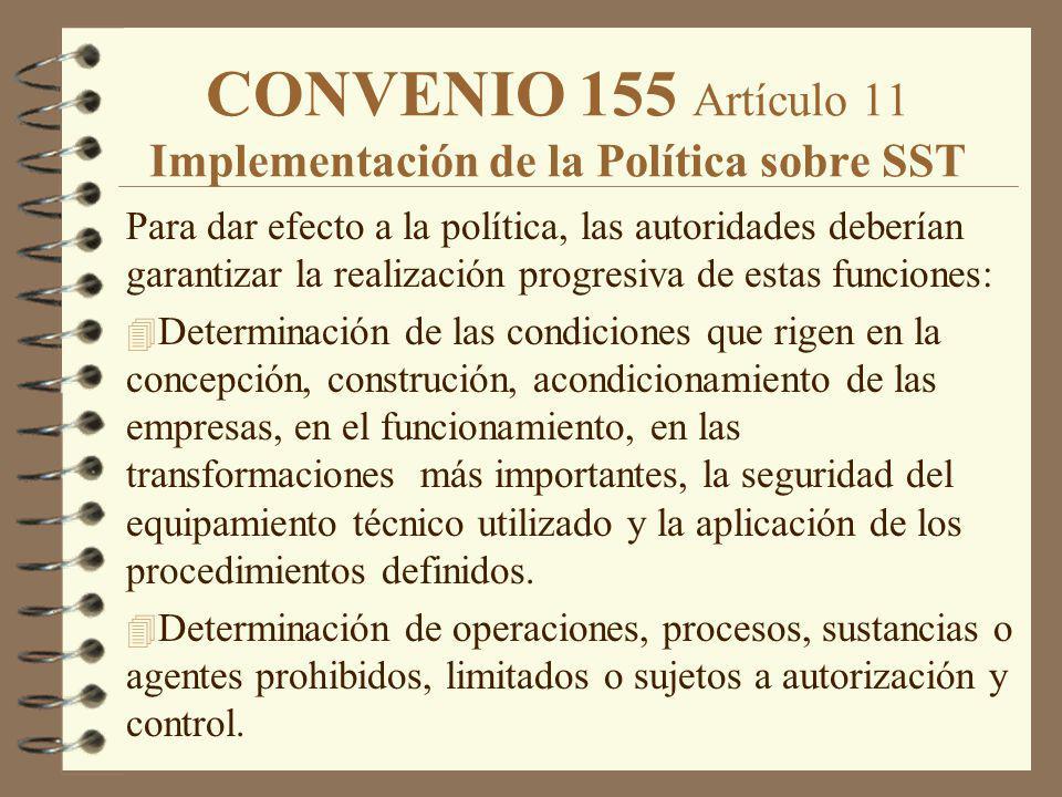 CONVENIO 155 Artículo 11 Implementación de la Política sobre SST