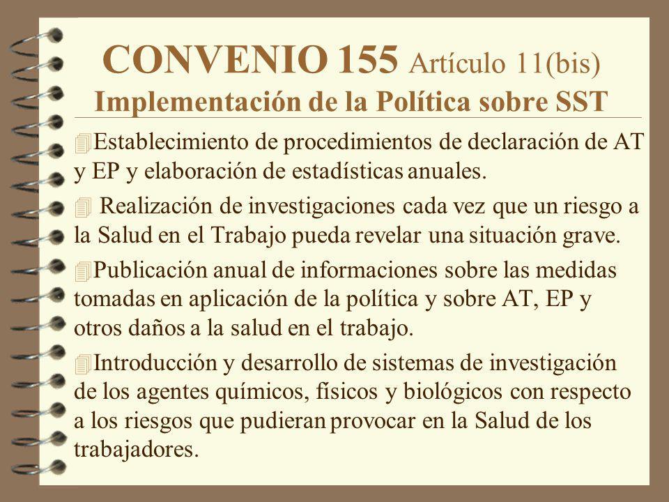 CONVENIO 155 Artículo 11(bis) Implementación de la Política sobre SST