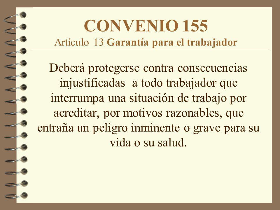 CONVENIO 155 Artículo 13 Garantía para el trabajador