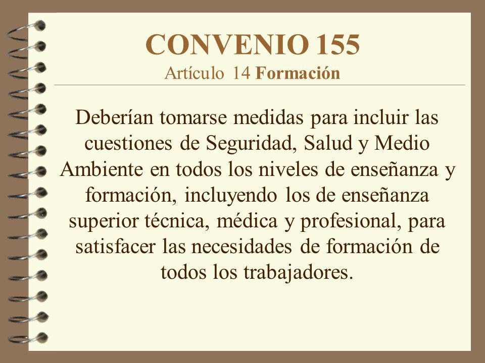 CONVENIO 155 Artículo 14 Formación