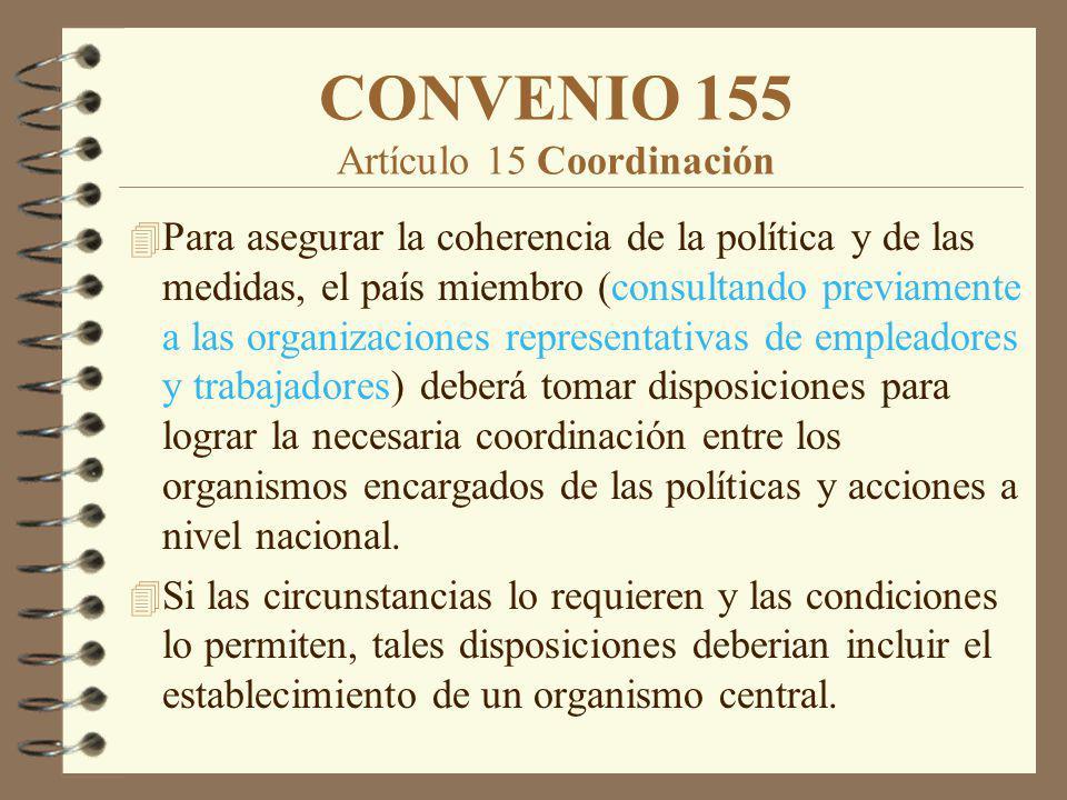 CONVENIO 155 Artículo 15 Coordinación