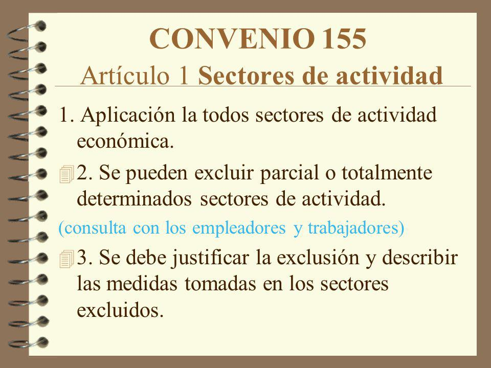 CONVENIO 155 Artículo 1 Sectores de actividad