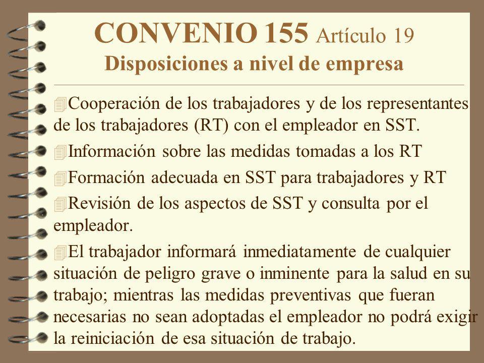 CONVENIO 155 Artículo 19 Disposiciones a nivel de empresa