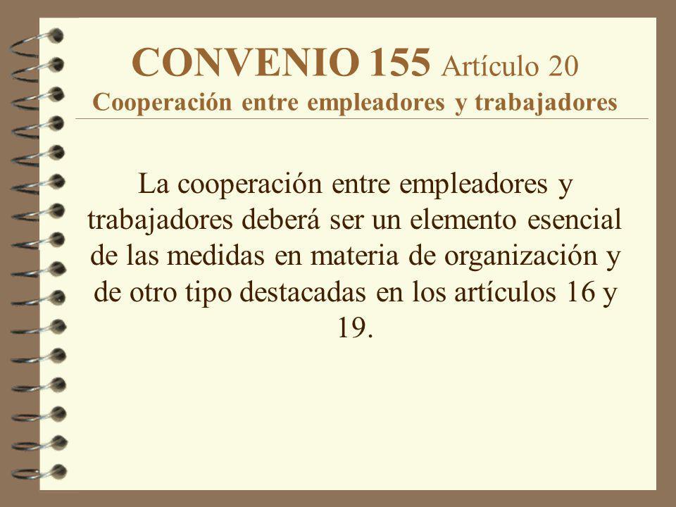 CONVENIO 155 Artículo 20 Cooperación entre empleadores y trabajadores