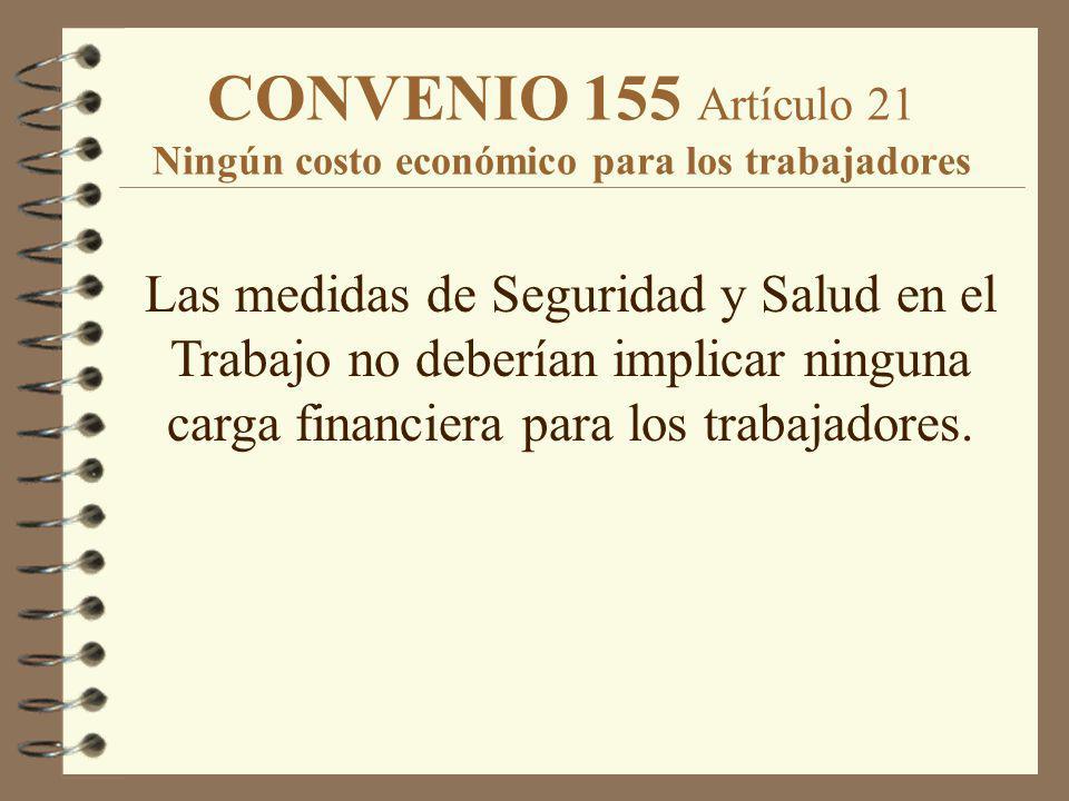 CONVENIO 155 Artículo 21 Ningún costo económico para los trabajadores