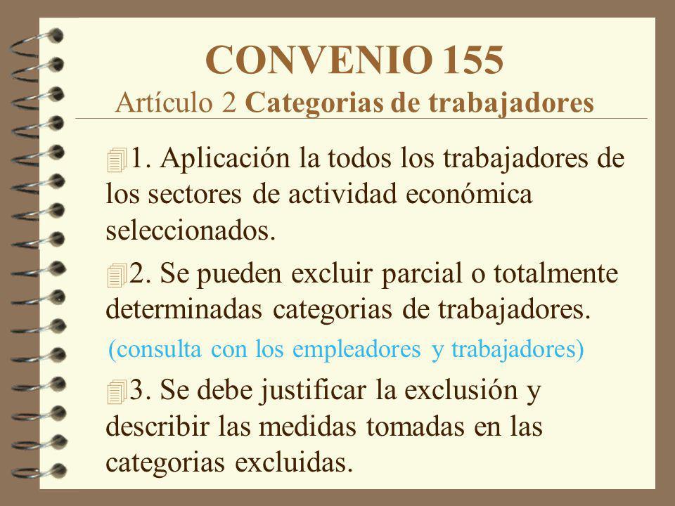 CONVENIO 155 Artículo 2 Categorias de trabajadores