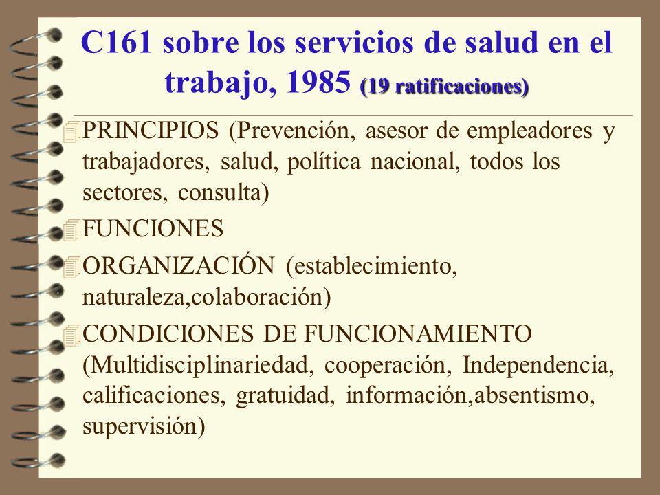 C161 sobre los servicios de salud en el trabajo, 1985 (19 ratificaciones)