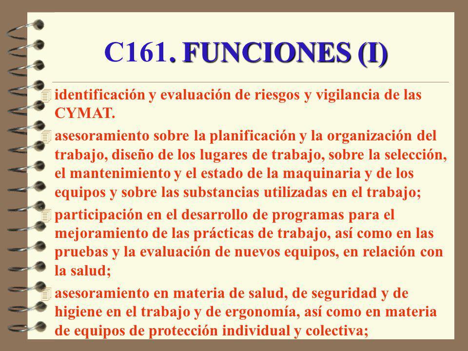 C161. FUNCIONES (I) identificación y evaluación de riesgos y vigilancia de las CYMAT.