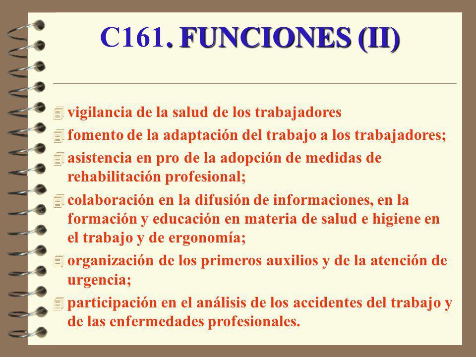 C161. FUNCIONES (II) vigilancia de la salud de los trabajadores