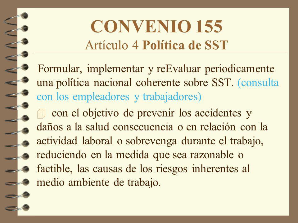 CONVENIO 155 Artículo 4 Política de SST