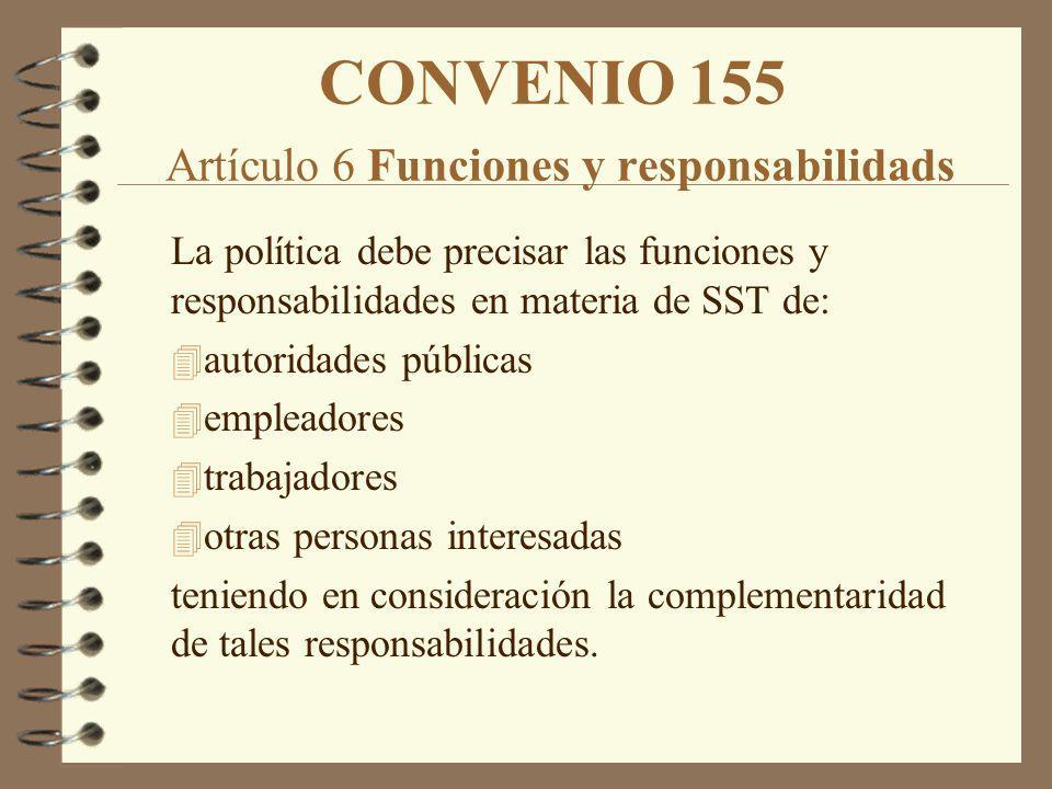 CONVENIO 155 Artículo 6 Funciones y responsabilidads