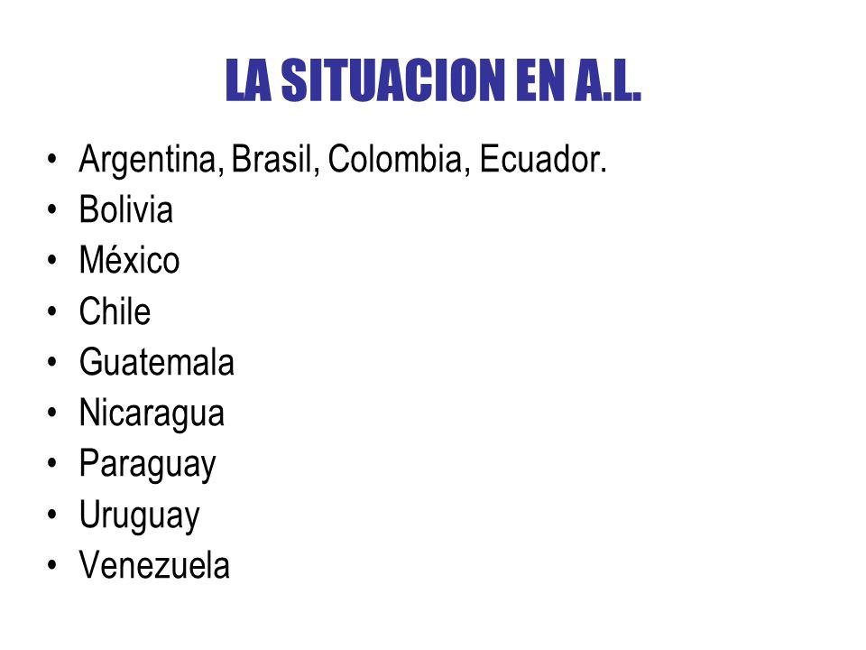 LA SITUACION EN A.L. Argentina, Brasil, Colombia, Ecuador. Bolivia