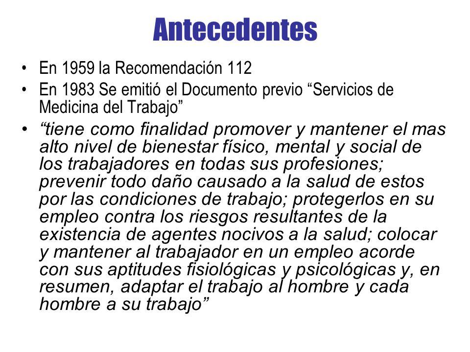 Antecedentes En 1959 la Recomendación 112