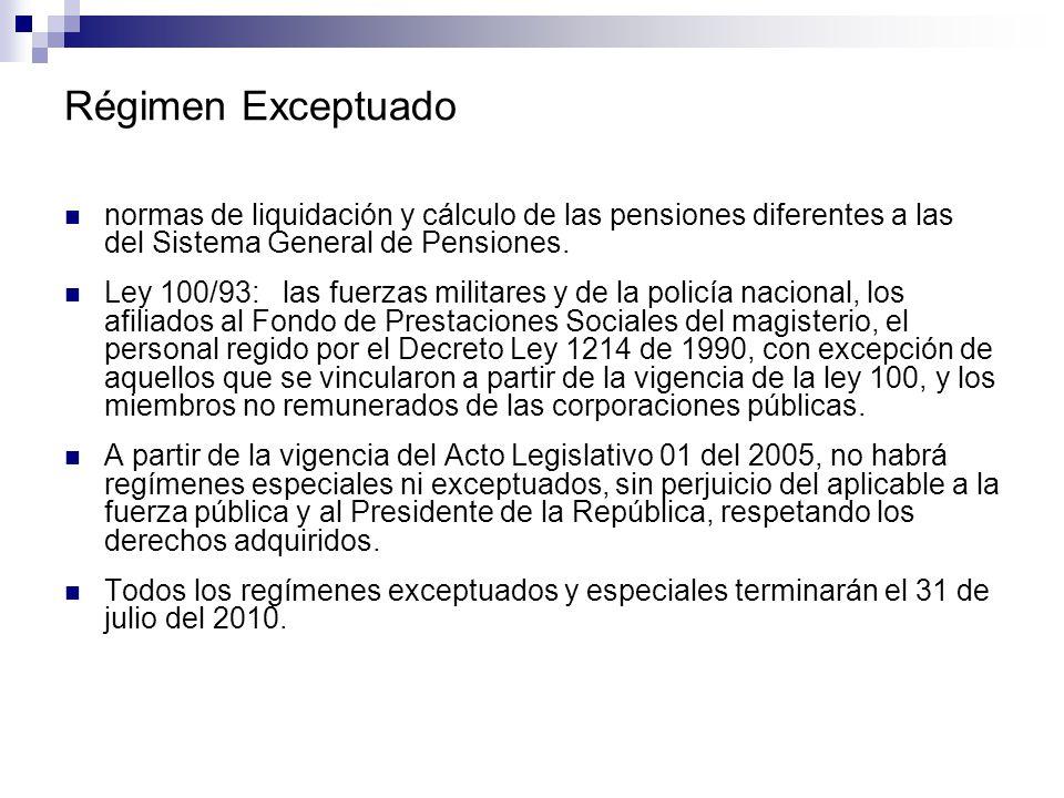 Régimen Exceptuado normas de liquidación y cálculo de las pensiones diferentes a las del Sistema General de Pensiones.