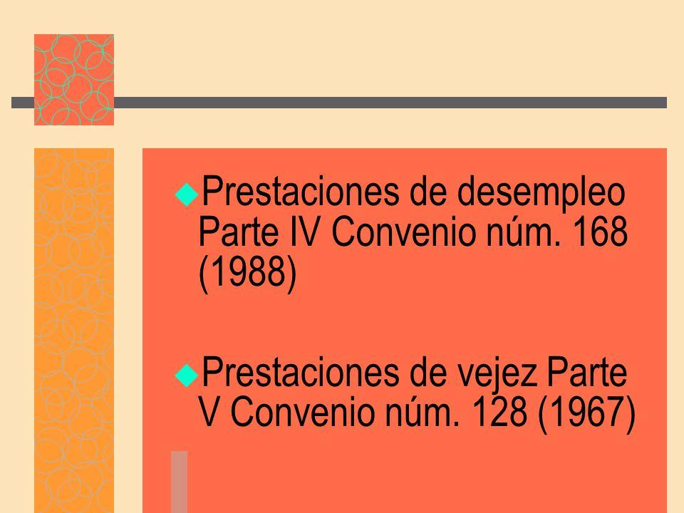 Prestaciones de desempleo Parte IV Convenio núm. 168 (1988)