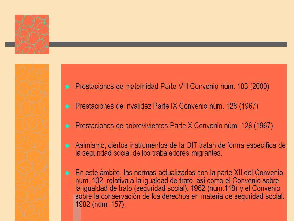 Prestaciones de maternidad Parte VIII Convenio núm. 183 (2000)